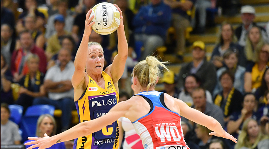 Laura Langman (left) of the Lightning in action during the Super Netball semi-final match between the Sunshine Coast Lightning and the NSW Swifts at the USC Stadium on the Sunshine Coast, Saturday, August 31, 2019.