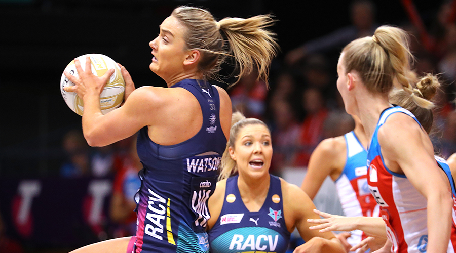 Liz Watson from the Melbourne Vixens catches the ball during the Super Netball Preliminary Final match between the New South Wales Swifts and the Melbourne Vixens at the Quaycentre in Sydney, Sunday, September 8, 2019