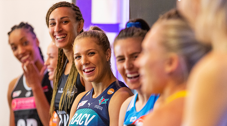 Kate Moloney (centre) is seen during the Suncorp Super Netball 2019 season launch in Melbourne, Tuesday, April 16, 2019.