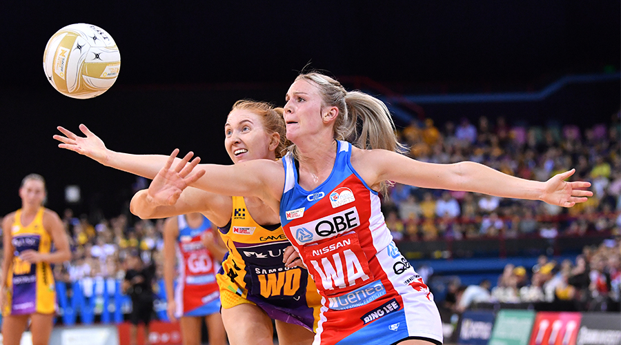 Madeline McAuliffe (left) of the Lightning contests for the ball against Natalie Haythornthwaite (right) of the Swifts during the Super Netball Grand Final match between the Sunshine Coast Lightning and the New South Wales Swifts at the Brisbane Entertainment Centre in Brisbane, Sunday, September 15, 2019.