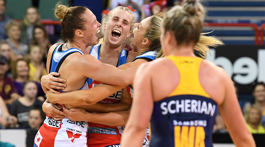Swifts players react after winning the Super Netball Grand Final between the Sunshine Coast Lightning and the New South Wales Swifts at the Brisbane Entertainment Centre in Brisbane, Sunday, September 15, 2019.