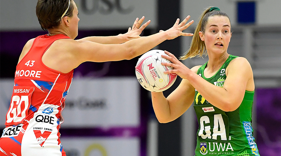 Alice Teague-Neeld of the Fever in action during the Round 2 Super Netball match between the NSW Swifts and West Coast Fever at USC Arena on the Sunshine Coast, Sunday, August 9, 2020.