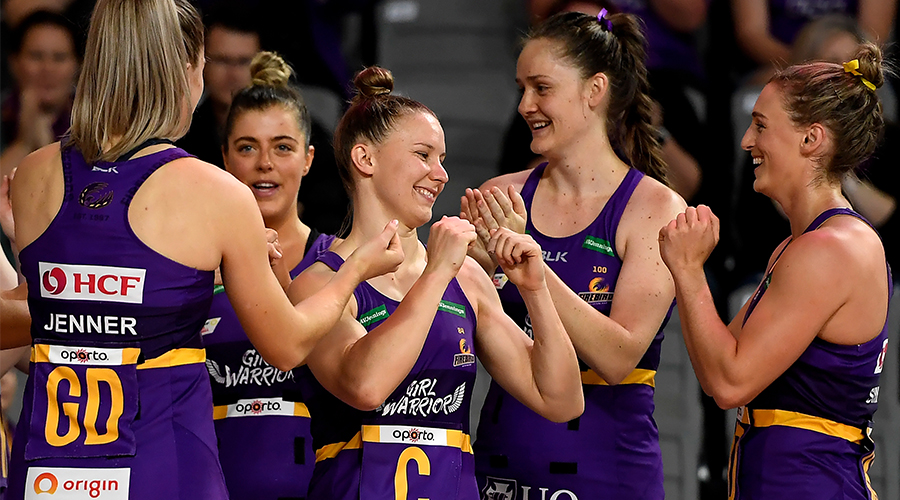 Mahalia Cassidy of the Firebirds is introduced during the Round 8 Super Netball match between the Queensland Firebirds and Adelaide Thunderbirds at Nissan Arena in Brisbane, Sunday, August 30, 2020.