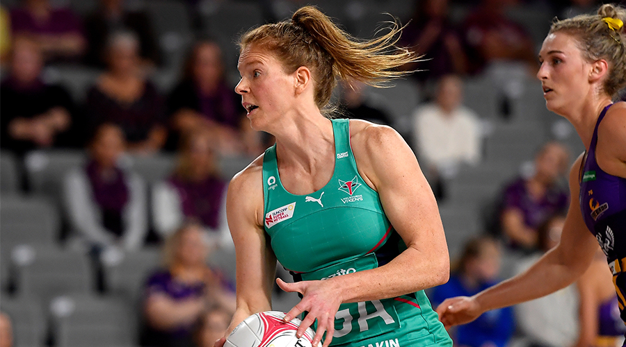 Tegan Philip of the Vixens in action during the Round 2 Super Netball match between the Queensland Firebirds and the Melbourne Vixens at Nissan Arena, Brisbane,, Saturday, August 8, 2020