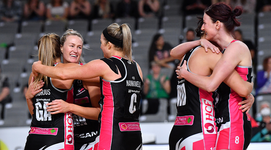 Chelsea Pitman (2nd from left) of the Thunderbirds is seen hugging team mates after winning the Round 14 Super Netball match between the West Coast Fever and Adelaide Thunderbirds at Nissan Arena in Brisbane, Saturday, September 26, 2020.