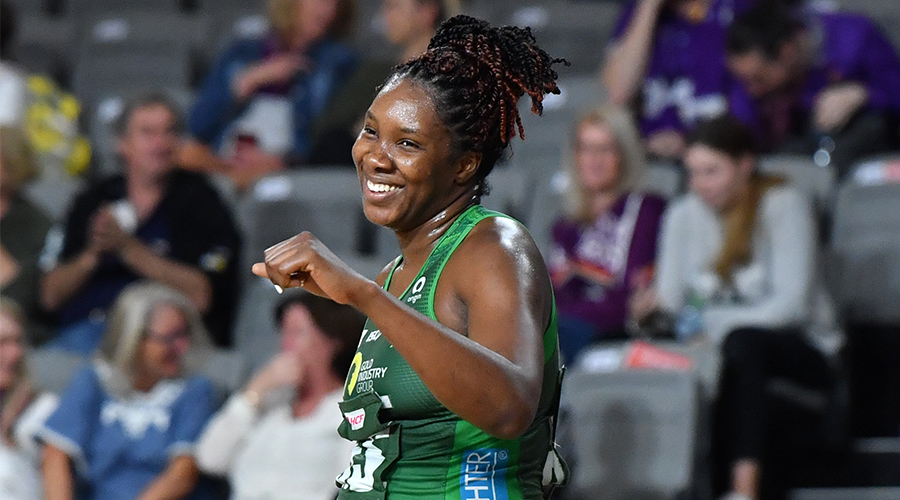 Jhaniele Fowler of the Fever celebrates during the Round 9 Super Netball match between the West Coast Fever and Queensland Firebirds at Nissan Arena in Brisbane, Wednesday, September 2, 2020.