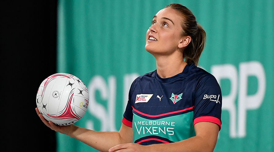 Liz Watson of the Vixens is seen warming up during the Round 9 Super Netball match between the Melbourne Vixens and the NSW Giants at Nissan Arena, Brisbane, Tuesday, September 1, 2020.