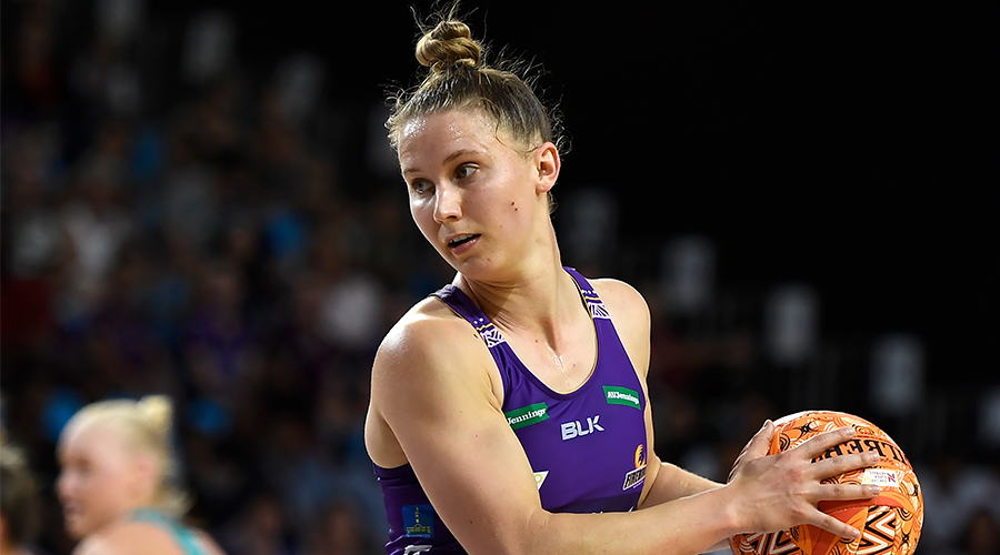 Mahalia Cassidy of the Firebirds in action during the Round 13 Super Netball match between the Melbourne Vixens and the Queensland Firebirds at Pop Up Arena in Cairns, Sunday, September 20, 2020.