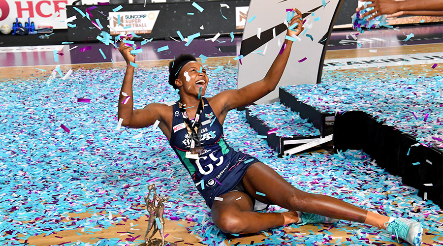 Mwai Kumwenda of the Vixens celebrates winning the Super Netball Grand Final between the Melbourne Vixens and West Coast Fever at Nissan Arena in Brisbane, Sunday, October 18, 2020.