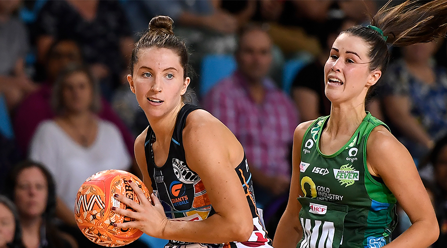 Amy Parmenter of the Giants in action during the Round 13 Super Netball match between the West Coast Fever and the GWS Giants at Pop Up Arena in Cairns Saturday, September 19, 2020.