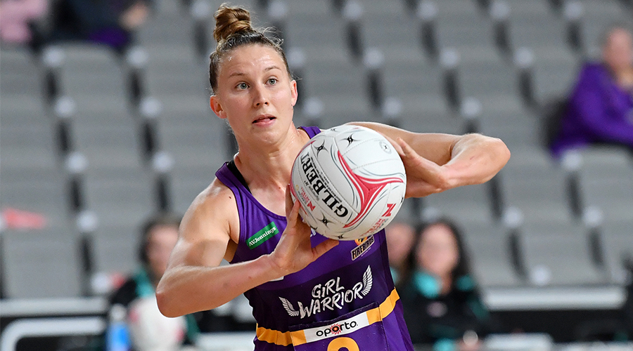 Mahalia Cassidy of the Firebirds in action during the Round 7 Super Netball match between the Giants NETBALL and the Queensland Firebirds at Nissan Arena, Brisbane, Tuesday, August 25, 2020.