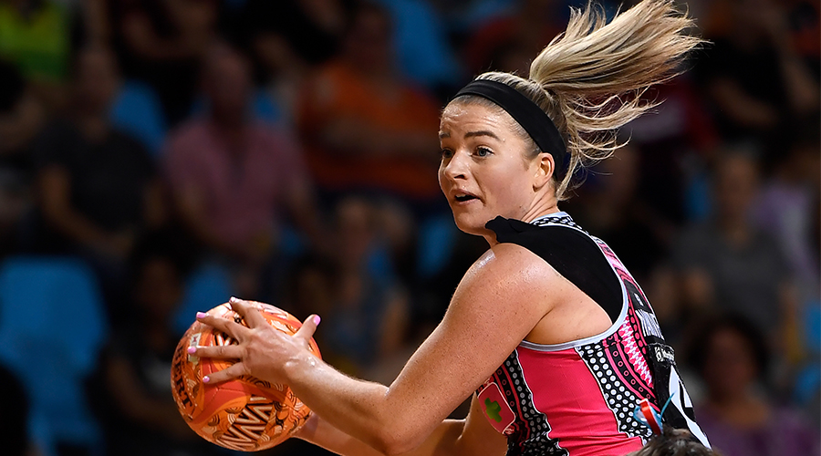 Maisie Nankivell of the Thunderbirds in action during the Round 13 Super Netball match between the Adelaide Thunderbirds and NSW Swifts at Pop Up Arena in Cairns Saturday, September 19, 2020