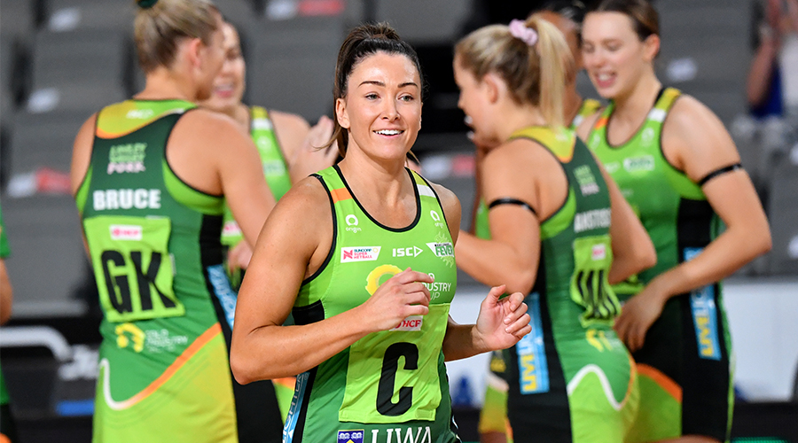 Verity Charles (centre) of the Fever is seen during the Round 14 Super Netball match between the West Coast Fever and Adelaide Thunderbirds at Nissan Arena in Brisbane, Saturday, September 26, 2020.