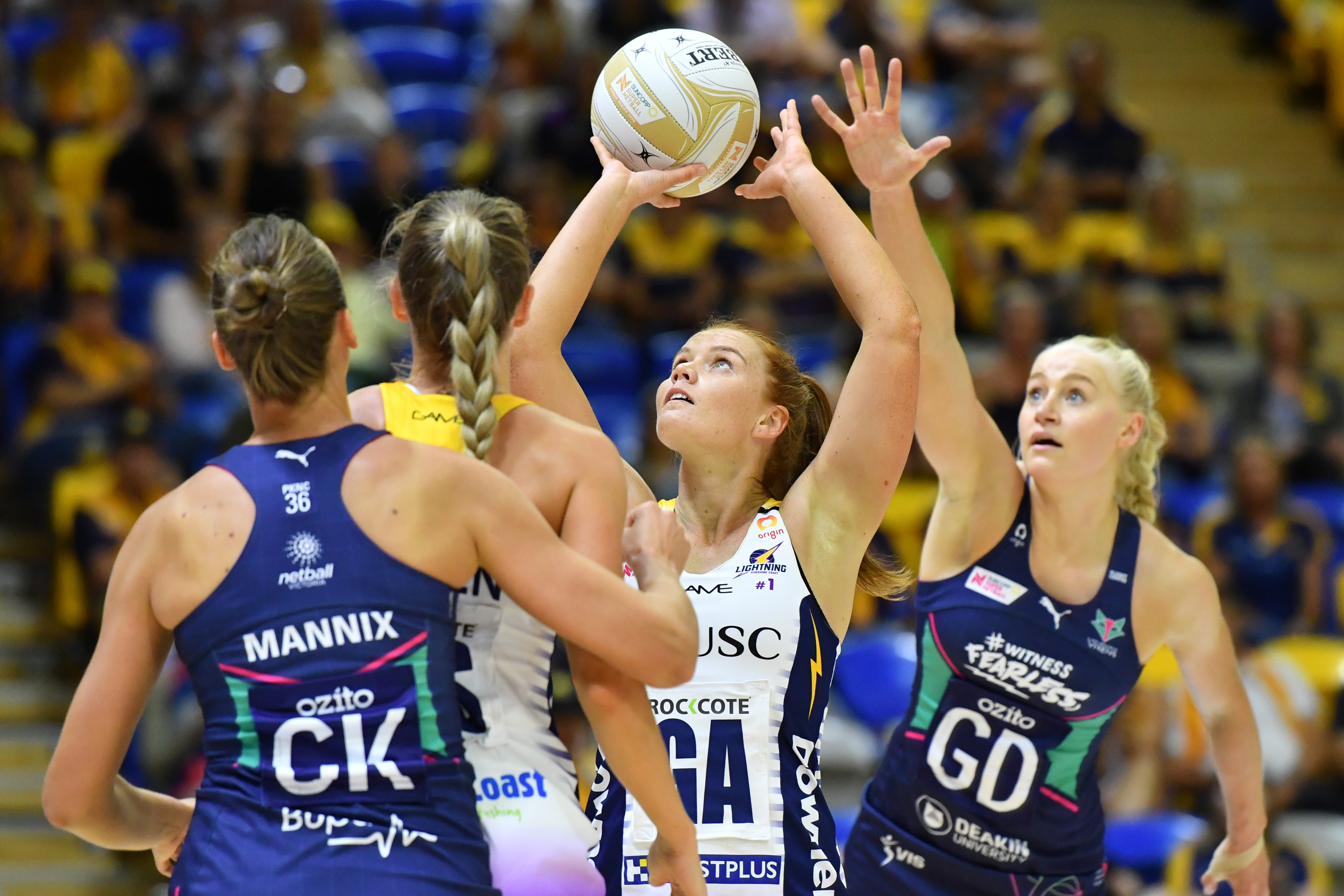Stephanie Wood of the Lightning shoots a goal during the Major Semi-Final Super Netball match between the Melbourne Vixens and the Sunshine Coast Lightning at USC Stadium on the Sunshine Coast, Saturday, October 3, 2020.
