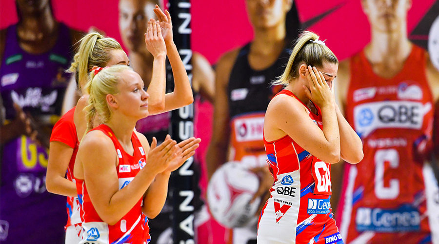 Sophie Garbin of the Swifts (right) and team mates react after loosing the Minor Semi-Final Super Netball match between the West Coast Fever and NSW Swifts at USC Stadium on the Sunshine Coast, Sunday, October 4, 2020.